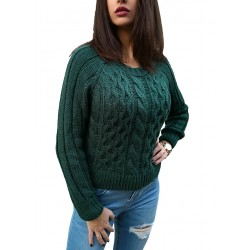 Pulover dama chicgreen culoare verde