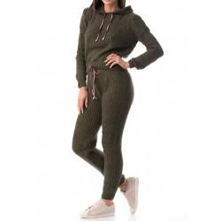 Compleu dama tricotat ali-634 culoare kaki
