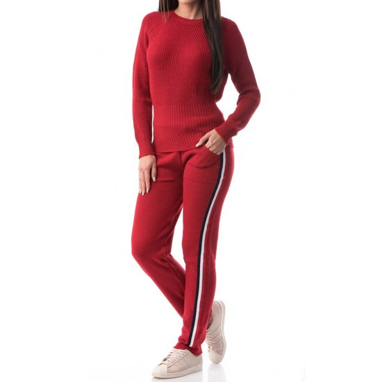 Compleu tricotat dama chic culoare rosu