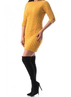 Rochie Tricotata Lady, culoare galben mustar