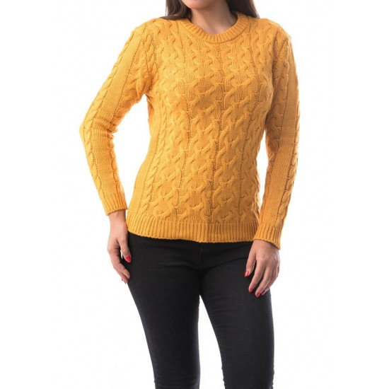 Pulover damaweave culoare galben mustar