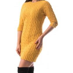Rochie tricotata lady culoare galben mustar