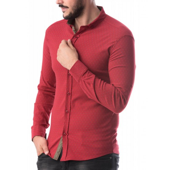 Camasa slimfit barbati culoare rosu CMB50