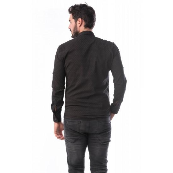 Camasa barbati slimfit bumbac elastic culoare maro CMB35
