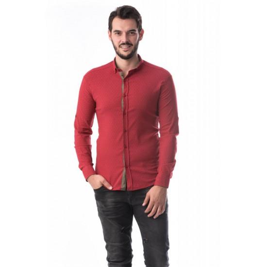 Camasa barbati slimfit bumbac elastic culoare rosu CMB50