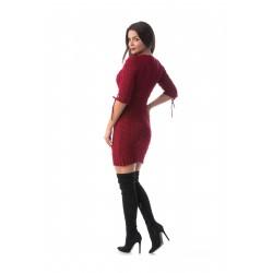Rochie tricotata lady culoare visiniu