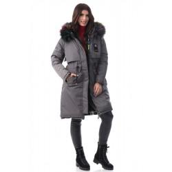 Geacă iarna damă reversibila culoare gri închis