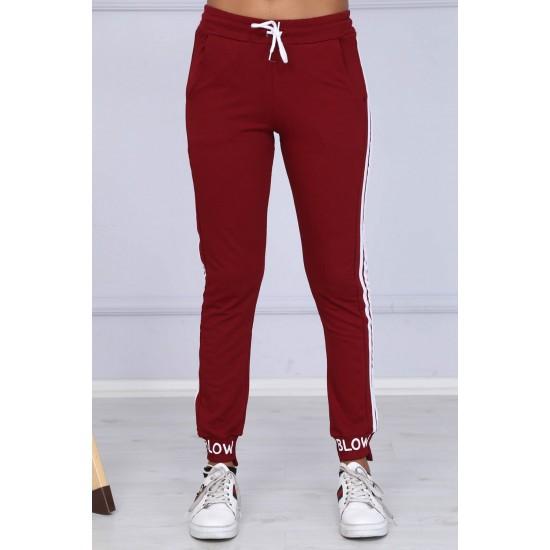 Pantaloni dama casual-sport culoare grena