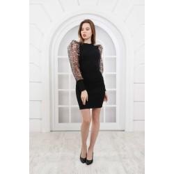 Rochie dama eleganta neagra din tricot si maneci  lungi transparente