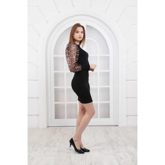 Rochie dama neagra din tricot si maneci transparente