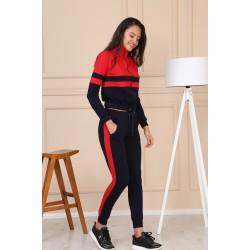 Trening sport dama, culoare bleumarin-rosu 8471