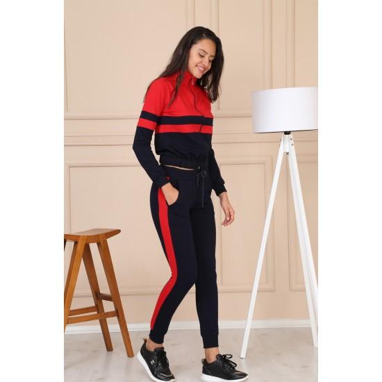 Trening sport dama culoare bleumarin-rosu 8471