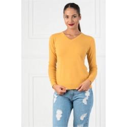 Bluza dama casual cu decolteu in v culoare galben