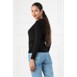 Bluza dama casual cu decolteu in v culoare neagra