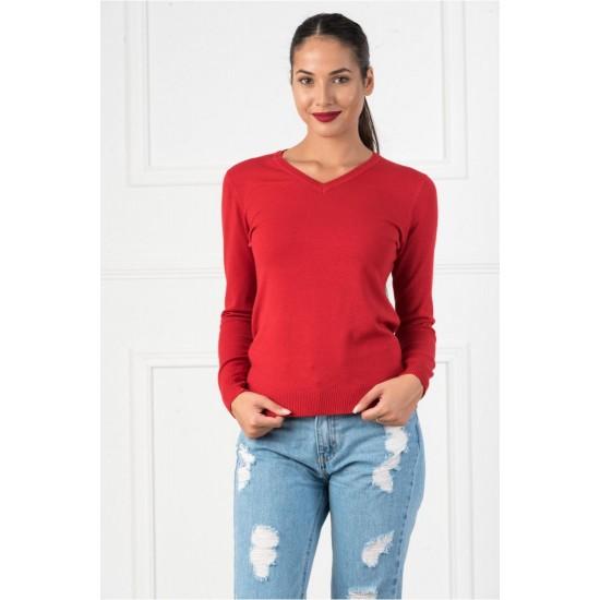 Bluza dama casual cu decolteu in v culoare rosie