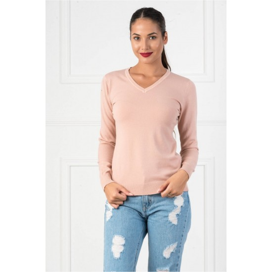 Bluza dama casual cu decolteu in v culoare roz plamaniu