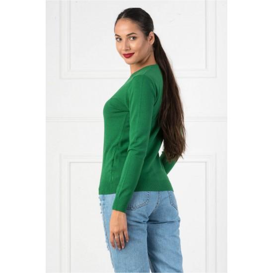 Bluza dama casual cu decolteu in v culoare verde