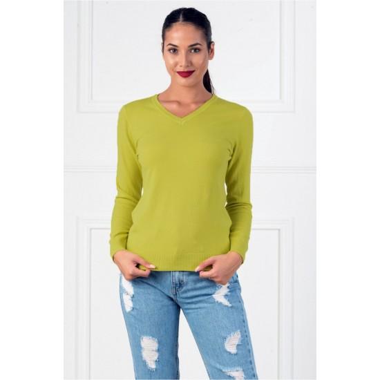 Bluza dama casual cu decolteu in v culoare verde oliv
