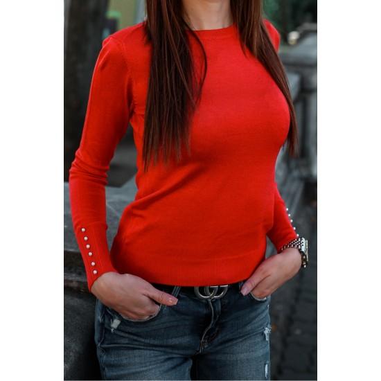 Bluza dama rosie accesorizata cu perlute la mansete