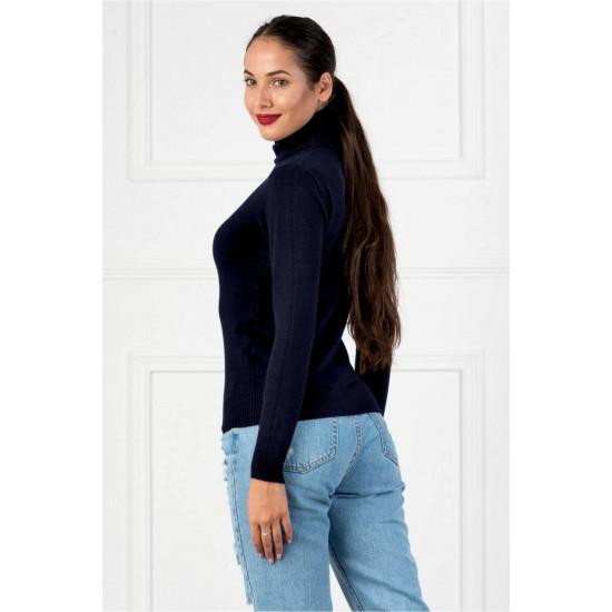 Bluza dama simpla casual stil helanca culoare bleumarin