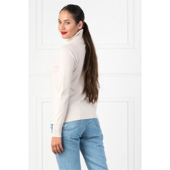 Bluza dama simpla casual stil helanca culoare crem