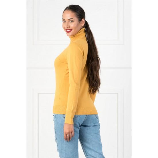 Bluza dama simpla casual stil helanca culoare galben