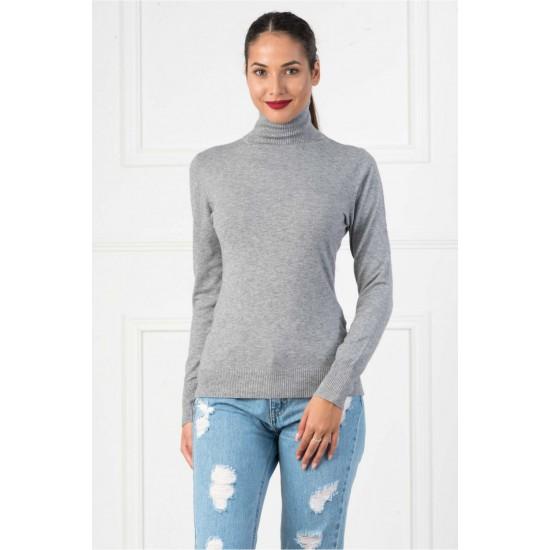Bluza dama simpla casual stil helanca culoare gri deschis