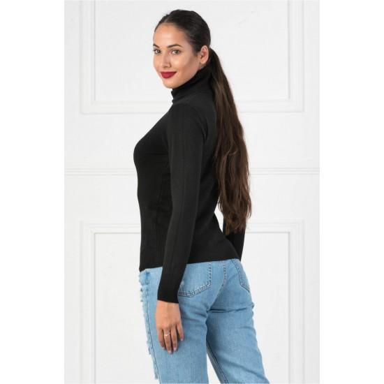 Bluza dama simpla casual stil helanca culoare neagra