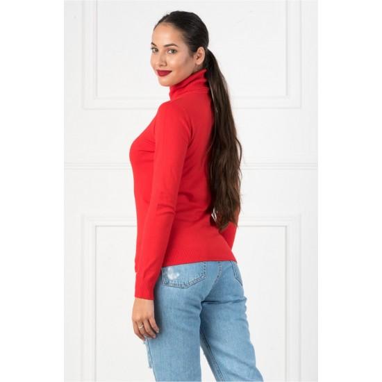 Bluza dama simpla casual stil helanca culoare rosie