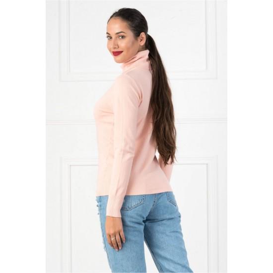 Bluza dama simpla casual stil helanca culoare roz pudra