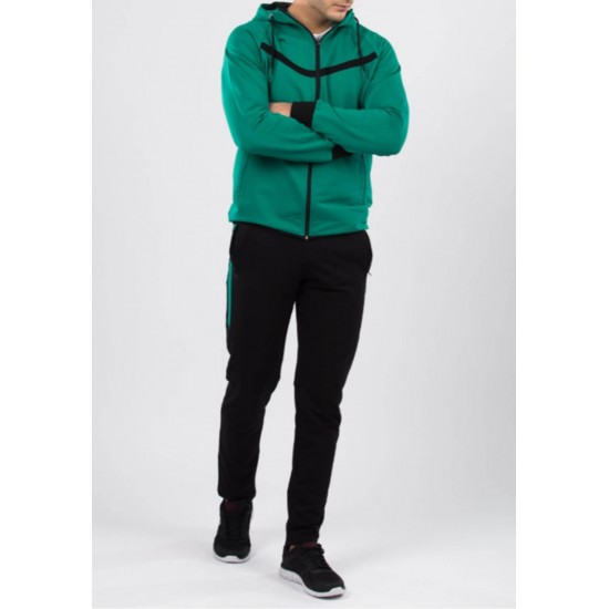 Trening barbati hoodie design verde si negru