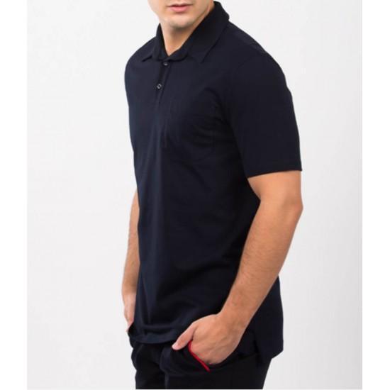 Tricou barbati polo design Bleumarin