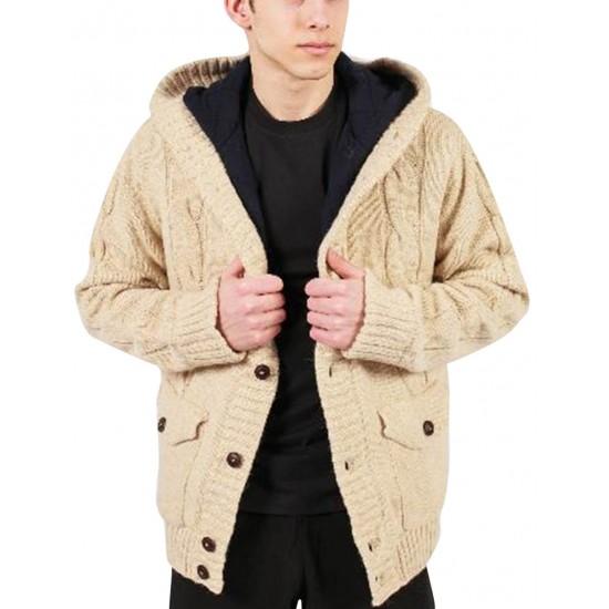 Jacheta barbati din tricot Hoodiedesign culoare Bej