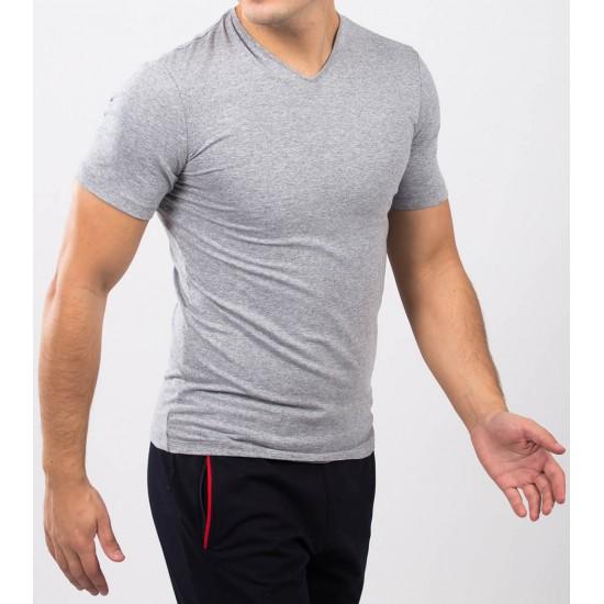 Tricou barbati slim fit for him culoare gri melanj