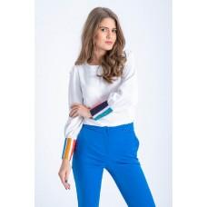 Bluza Lane alba cu maneci bufante si mansete in dungi multicolore