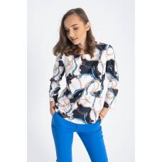 Bluza Carlita alba cu imprimeu
