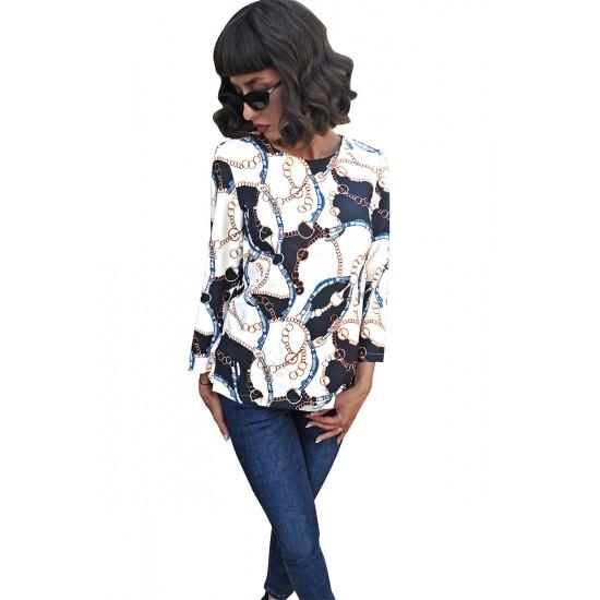 Bluza dama carlita alba cu imprimeu