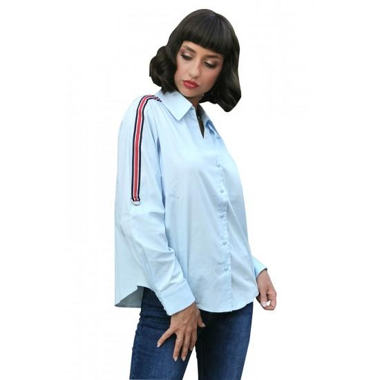 Camasa dama bumbac anelize bleu cu banda contrastanta