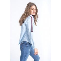 Camasa dama Anelize bleu cu banda contrastanta