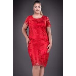 Rochie de ocazie  Alina culoare rosie din dantela