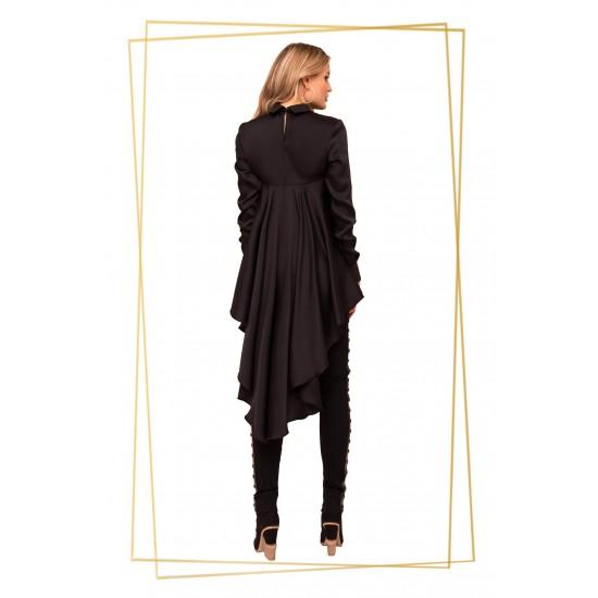 Bluza dama asimetrica cu guler piele ecologica si croi larg culoare neagra