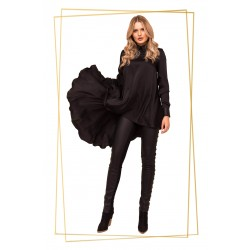 Bluza dama asimetrica neagra cu guler piele ecologica
