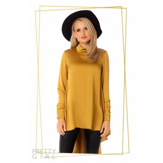 Bluza dama culoare galben-mustar asimetrica cu brosa detasabila