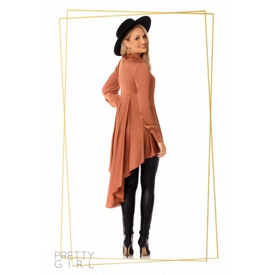 Bluza dama culoare caramizie asimetrica cu brosa detasabila