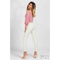 Bluza dama roz prafuit tip corset cu maneci bufante
