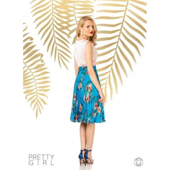 Fusta dama midi plisata albastra cu motive florale