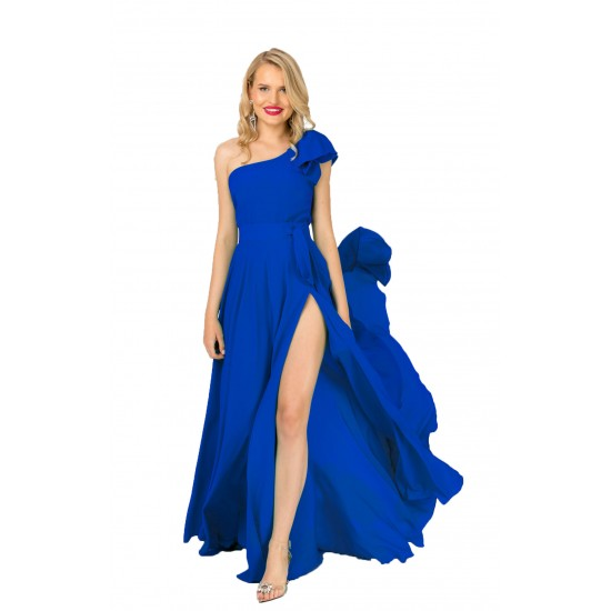 Fusta lunga si Top dama Pretty Girl cu volan pe un umar culoare albastra