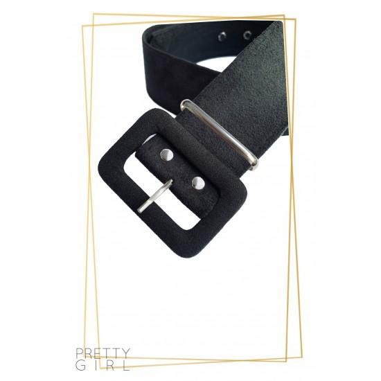 Fusta dama plisata cu accesoriu tip curea culoare neagra