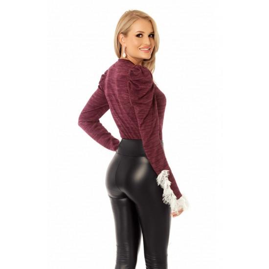Pulover femei visiniu din tricot cu aplicatii din dantela alba
