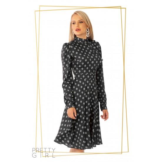 Rochie midi neagra evazata cu imprimeu geometric